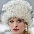 De las mujeres de Invierno Sombreros Gorros Mujeres Gorro de piel de Visón Imitación de Piel de Zorro Gorros de punto Sombrero de la Piña Tienen Orejas Sombrero De Piel Sintética Para Las Mujeres
