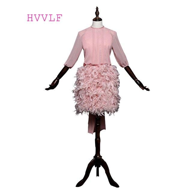 Pink 2019 A line 3/4 Sleeves Short Mini Chiffon Feather Open Back Short Elegant Cocktail Dresses Mini Homecoming Dresses