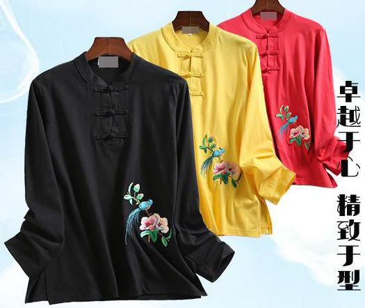7color spring autumn cotton kung fu uniforms martial arts shirts tai chi wushu lay embroidery long