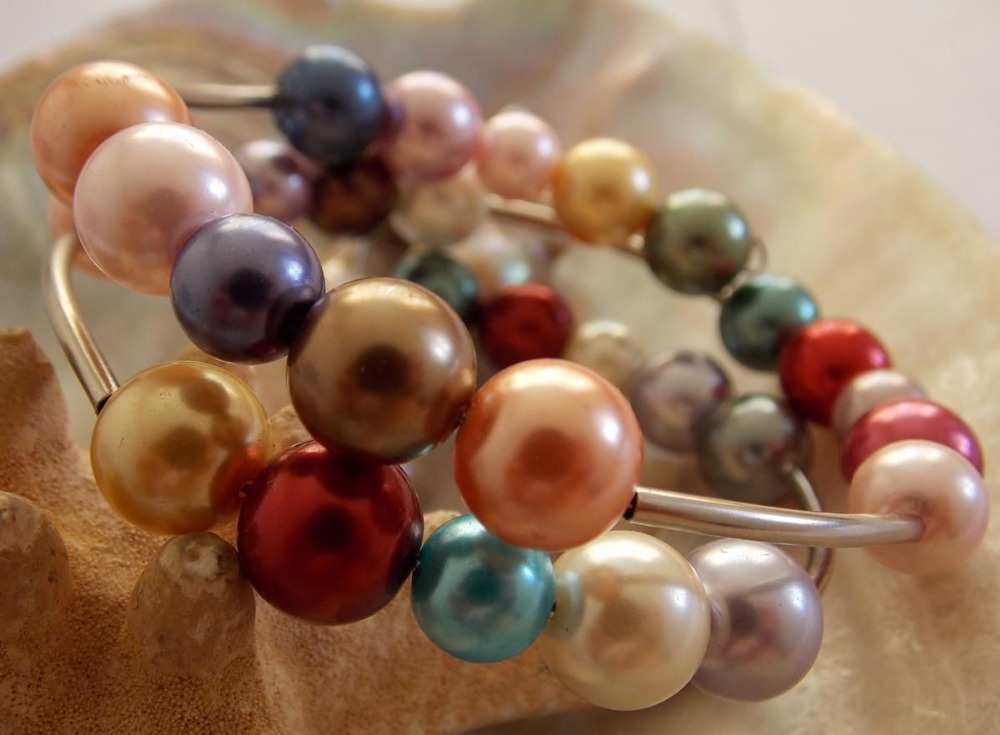 New fashion free shipping 8-10mm beautiful multicolor shell simulated-pearl round beads bracelet jewelry 7.5inch BV297