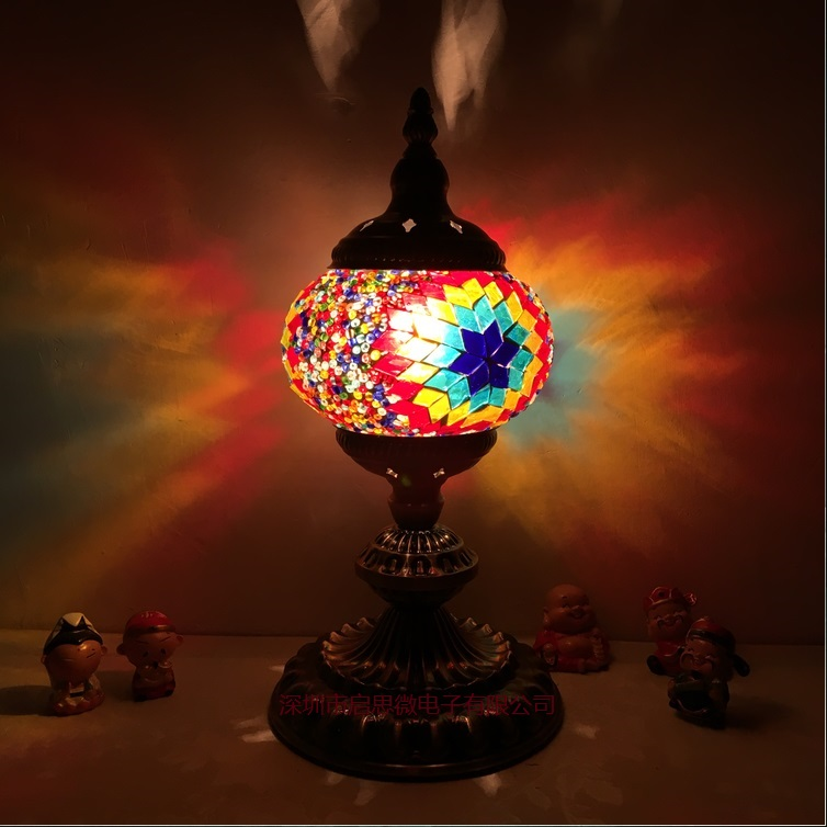 E14 Turkish Mosaic Table Lamp Mediterranean Art Deco Handcrafted Glass romantic bed light lampada da tavolo mediterraneo turco