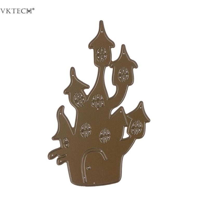 DIY Halloween Haunted House Metal Cutting Dies Stencil for Scrapbooking Die Cuts Paper Card Embossing Folder