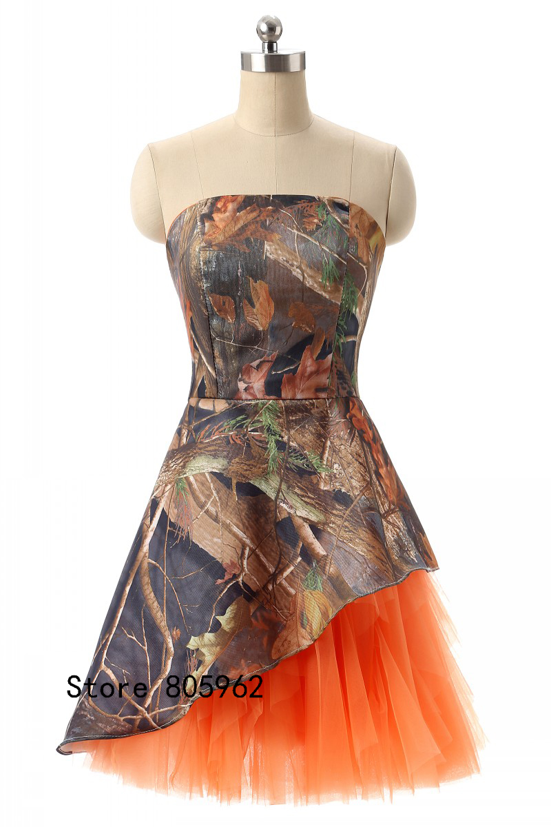 Newest short orange camo junior bridesmaid dresses 2017 strapless newest short orange camo junior bridesmaid dresses 2017 strapless camouflage cheap wedding party dress vestido madrinha real in bridesmaid dresses from ombrellifo Image collections