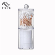 TTLIFE Dual Layer Acrylic Cosmetic Organizer Multifunctional Cotton Pad Container Holder Storage Multi-form Combination Optional
