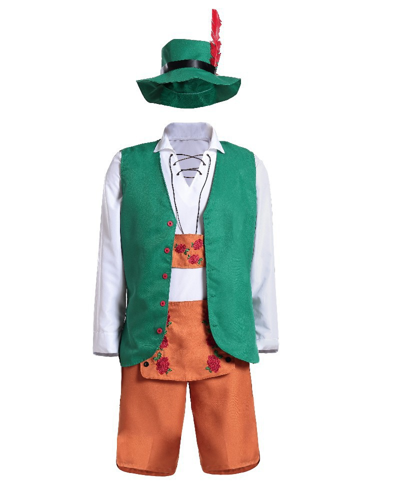 Green Mens Oktoberfest Lederhosen Costume Bavarian Shorts Traditional German Wear Beer Carnival Party Outfit