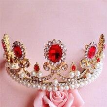 Barroco gran corona de oro perla ornamentos del pelo del tocado de novia joyería del rhinestone accesorios del vestido de boda rojo de la vendimia