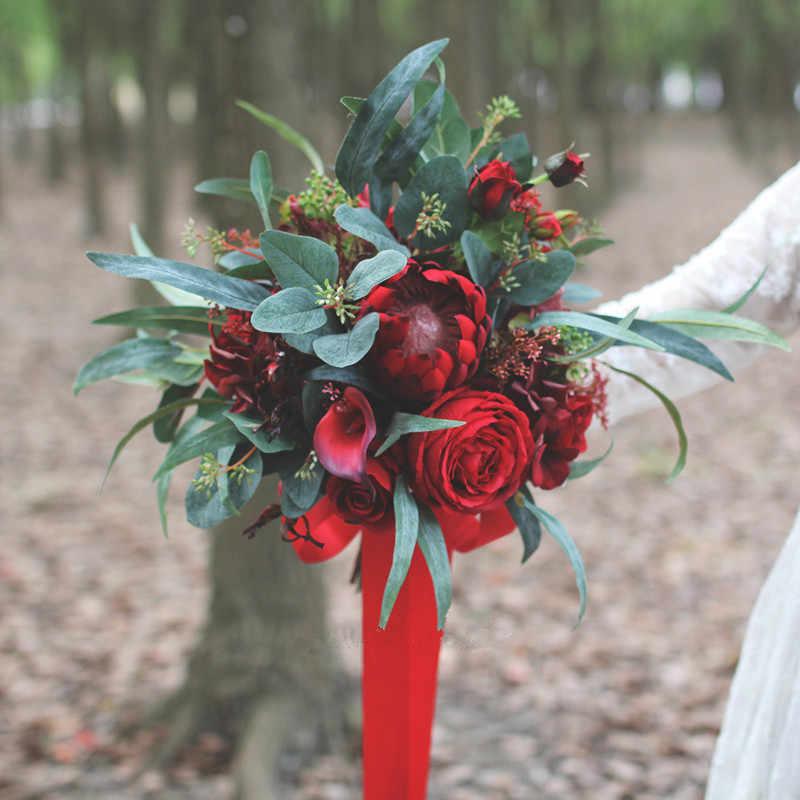 Janevini Vintage Pernikahan Karangan Bunga Merah Pengantin Mawar Buatan BoHo Bunga Sutra Bouquet De Mariage Bride Pernikahan Aksesoris
