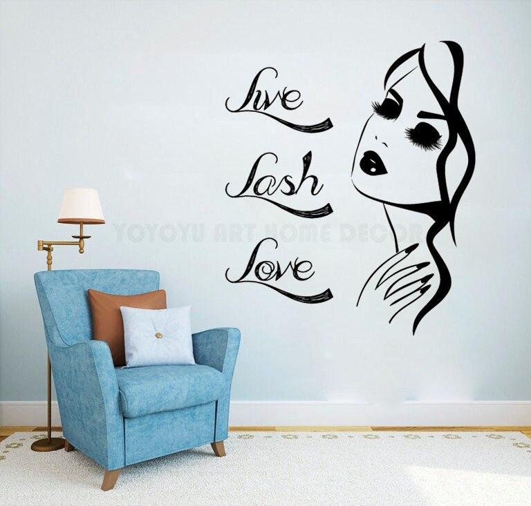 Removable Live Lash Love Quote Women Eyelash Wall Decal Beauty Salon Eyelash Brows Wall Sticker Make Up Window Wall Sticker Y142