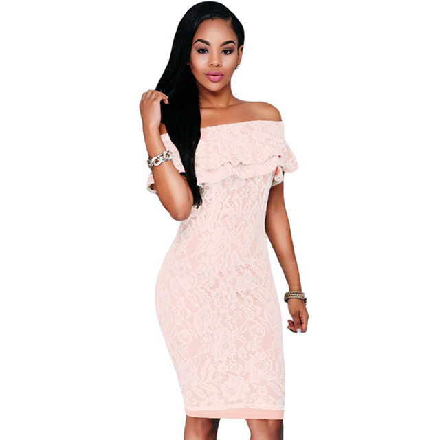 71aa190a42e8 summer sexy ruffles women short dress Off-the-shoulder casual pink bodycon  dresses Ruffles Cross Straps Dresses Party Dresses
