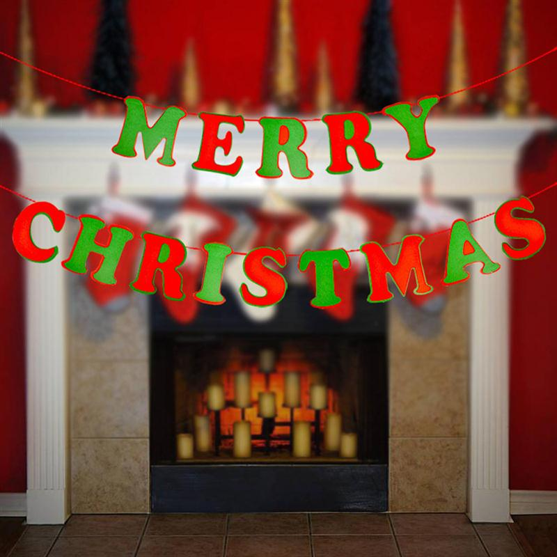 1 x 6 meters bistratal merry christmas letter banners bunting garland wall and door hanging decoration xmas tree ornaments home party christmas decor photo