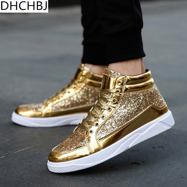 2018 Men Hip Hop shoes leather casual shoes Gold fashion sneakers silver  high tops Male black Vulcanized shoes sizes 45 ae8c4dc4a63a