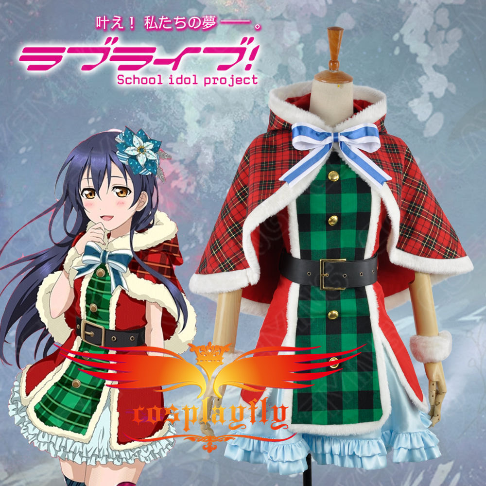 ! Hot Gift! Love Live Sonoda Umi Christmas Dress Awakening Card Cosplay CostumeCustom Made Red Plaid Cloak (W0585)