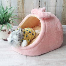Pet Bed Dog House Kennel Doggy Warm Cushion Basket for Small Medium Dogs Fashion Strawberry Cave Cat Tent Puppy Nest Mat(China)