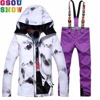 Gsou Snow лыжный костюм Женская лыжная куртка брюки зимний дешевый лыжный костюм открытый сноуборд куртка брюки наборы женская теплая спортивн