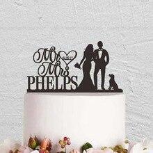Персонализированные Свадебный торт Топпер, с Mr и Mrs, невеста и жених торт Топпер, пара торт Топпер с собакой, пользовательское имя и дата