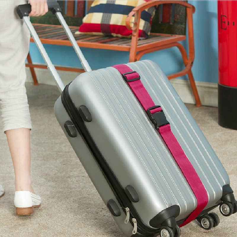 Regulowany pasek bagażowy pas poprzeczny pakowanie akcesoria podróżne 180CM wielofunkcyjna walizka nylonowy pasek z klamrą pasy bagażowe Tag