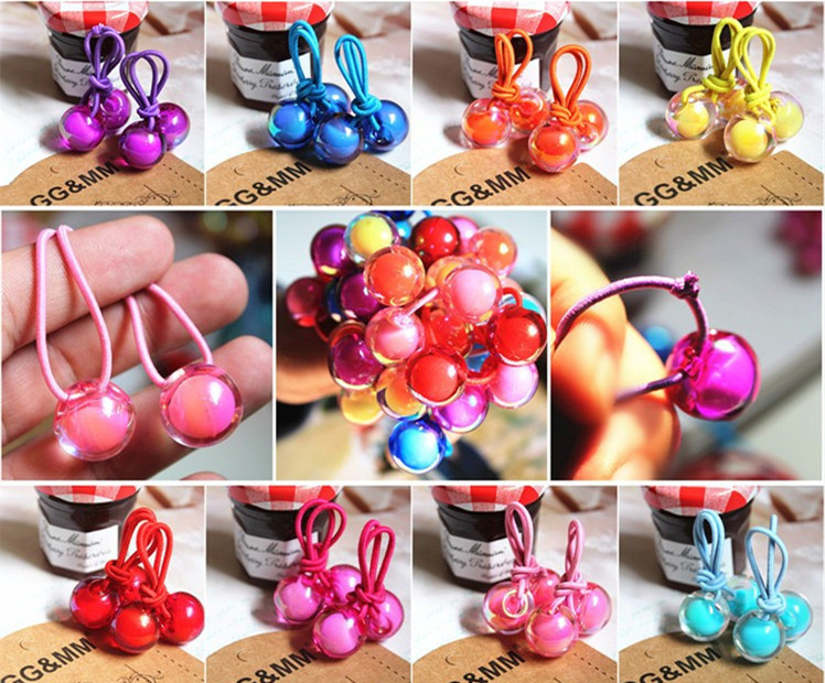 2pcs/lot new fashion cute double ball hair ring hair rope hair accessories for women girl children new fashion cute double ball hair ring candy color rubber bands hair rope hair accessories for women girl children kids