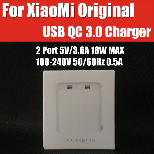 CDQ03ZM QC3.0 BC1.2 original Xiaomi USB Quick Charger 2 Port Micro/Type C 5V/3.6A 18W Compatible for iPhone,iPad,Xiaomi,Huawei