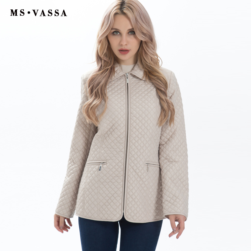 MS VASSA Nieuwe Dames jas Vrouwen Lente Herfst classic quilten Parka jas plus size S 7XL gewatteerde jas gelukkig size bovenkleding-in Parka's van Dames Kleding op  Groep 2