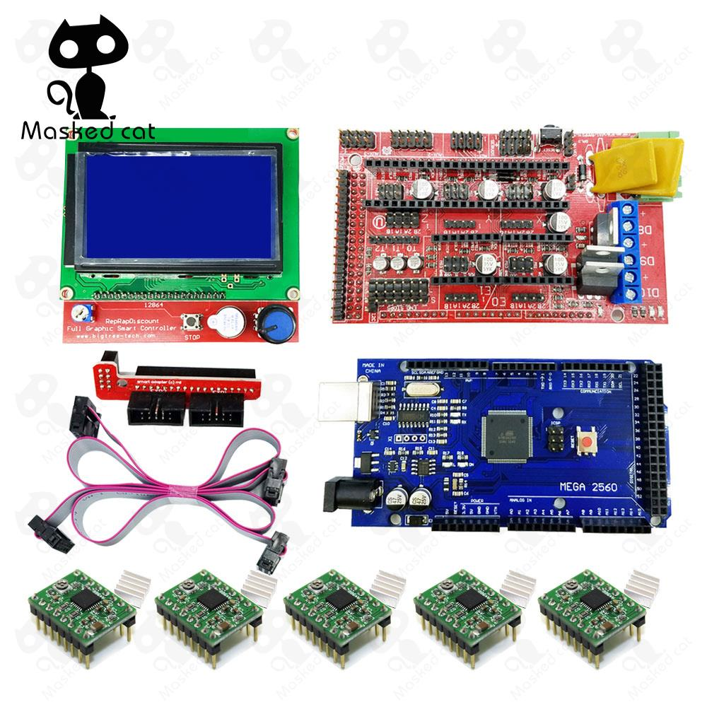3D Printer parts 1pcs Mega 2560 R3 + 1pcs RAMPS 1.4 Controller +1pcs 12864 controller+5pcs A4988 Stepper Driver Module, цена и фото