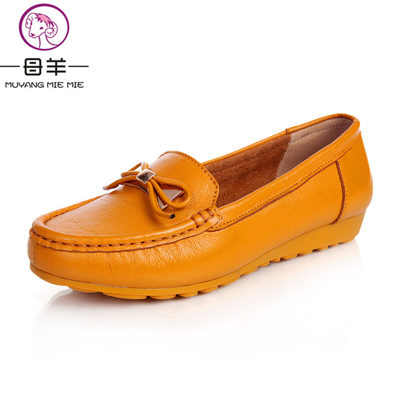 ФОТО MUYANG MIE MIE 2016 bow loafers women flats,women genuine leather flat shoes round toe mother shoes female casual single shoes