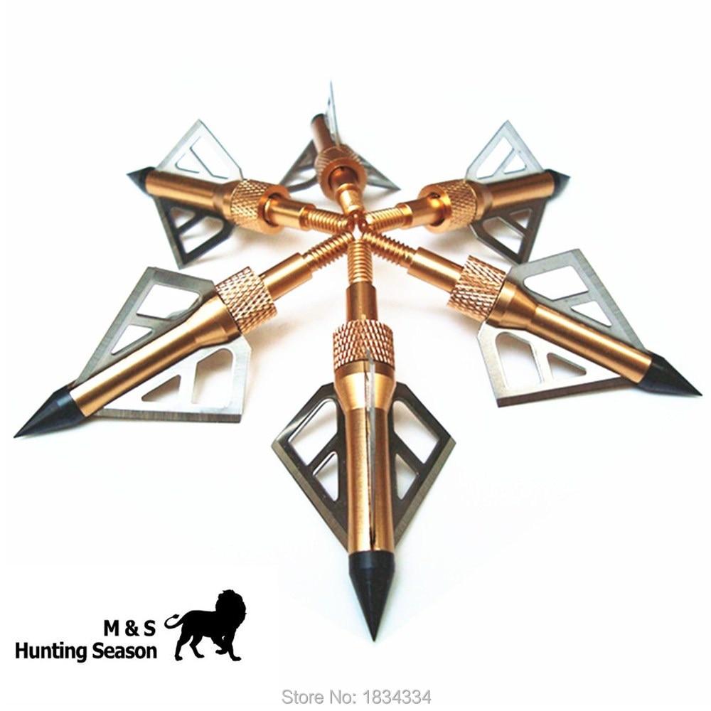 Memburu Broadheads 100 Grain 3 Blades Steel Arrowheads Emas untuk Bow Senyawa Dan Crossbow Tinggi Arrow Heads 6 Pek