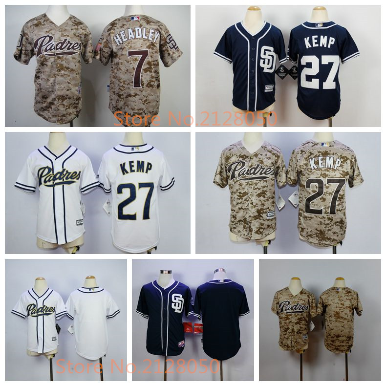 cheap for discount a8e3c 182bd San Diego Padres Youth Jerseys 27 Matt Kemp 7 Chase Headley ...