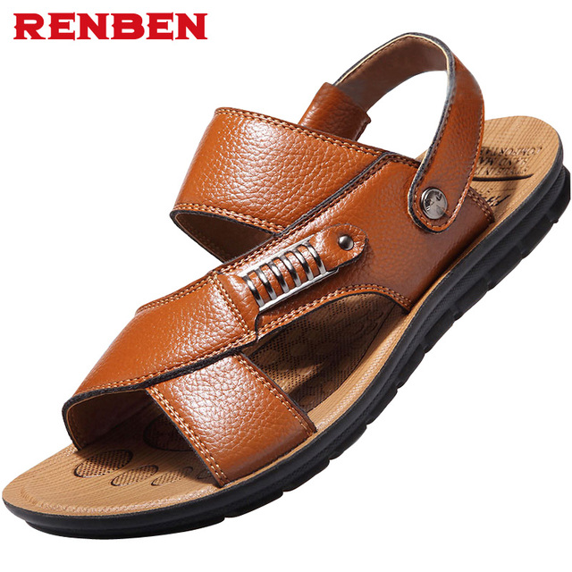 2627c4d4af9 Top quality sandal 2018 men sandals summer slippers genuine leather sandals  men outdoor shoes men leather