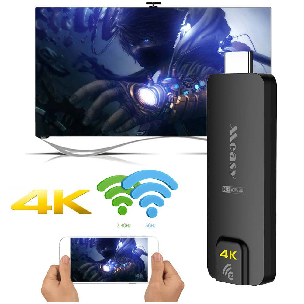 A2W 4k 5G tv dongle miracast Any Cast AirPlay Crome Cast Cromecast HDMI TV Stick Wifi Display Receiver Dongle for ios andriod
