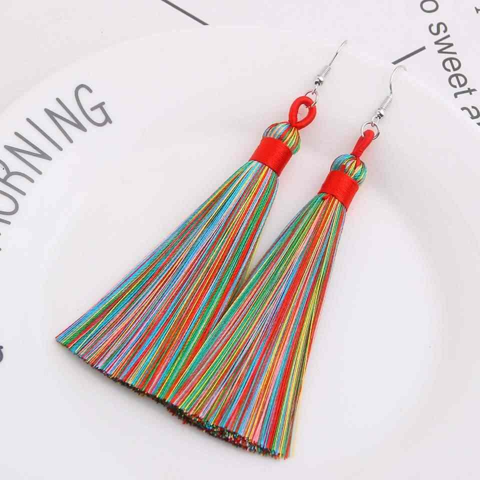 Qtian Bohemia Drop Earrings Ethnic Long Dangle Earrings Vintage Punk Fashion Jewelry women's earrings 2019 party bride earrings