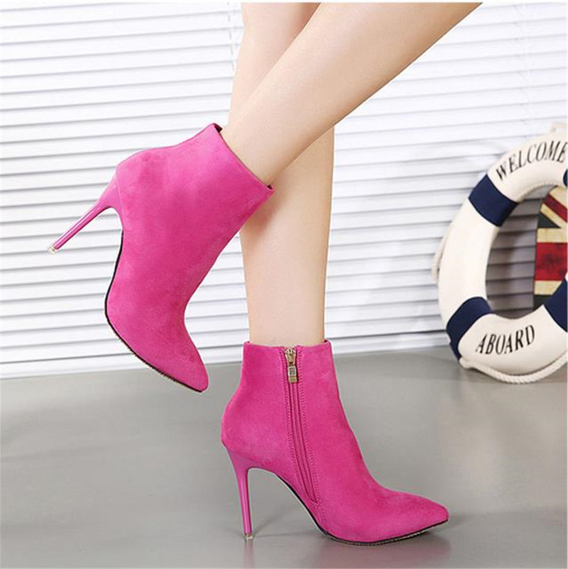 Women Autumn Sexy Suede Leather Orange Blue Pink Pointed Toe Zipper Ankle Short Thin High Heels Boots for Womens Booties F5 egonery quality pointed toe ankle thick high heels womens boots spring autumn suede nubuck zipper ladies shoes plus size