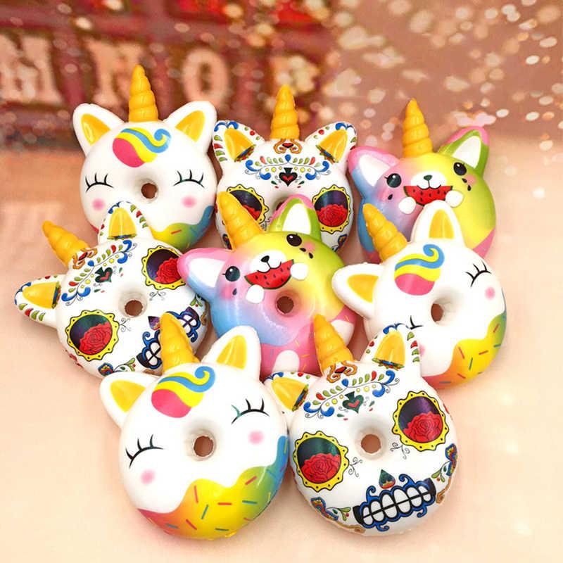 Crianças Brinquedos Unicórnio Kawaii Mole Donut Squishy Lento Subindo Antistress Brinquedo Squeeze Brinquedos Squishies Presente Engraçado Mordaças câmera escondida