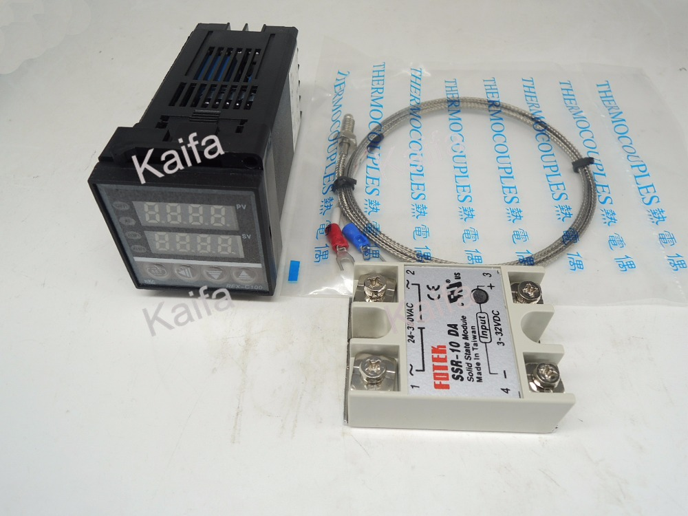 ,Digital PID Temperature Controller Thermostat REX-C100  + 1M K Thermocouple Probe+SSR 10DA,100V~240V AC  rex c100 digital pid temperature control controller thermostat thermometer relay output