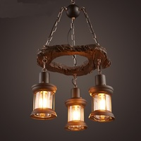 Retro bar Pendant Lights diffuse cafe creative personality glass lampshade wrought iron solid wood decorative lamps LU71484 YM