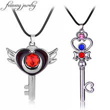 feimeng jewelry Anime Sailor Moon Necklace Fashion Sweet Magic Wand Pendant Necklace Charm Csosplay Accessories For Women