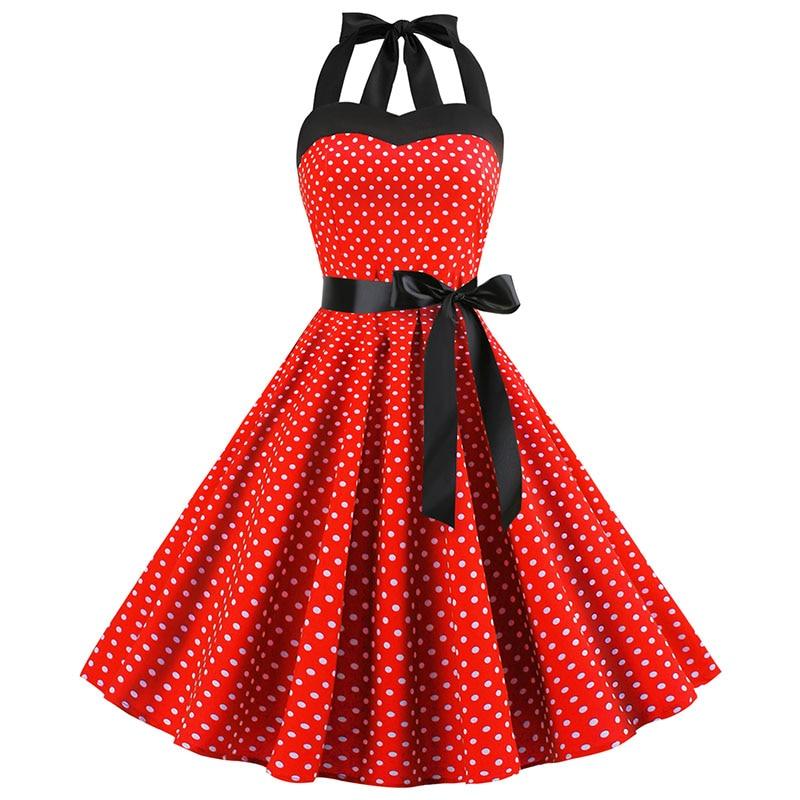 Sexy Halter Party Dress Retro Polka Dot Hepburn Vintage 50s 60s Pin Up Rockabilly Dresses Robe Plus Size Elegant Midi Dress 16