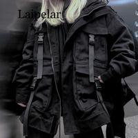 Laipelar Korean Streetwear Harajuku Black Denim Jacket Oversized Pockets Women Jeans Jackets Loose BF Vintage Casual Coats