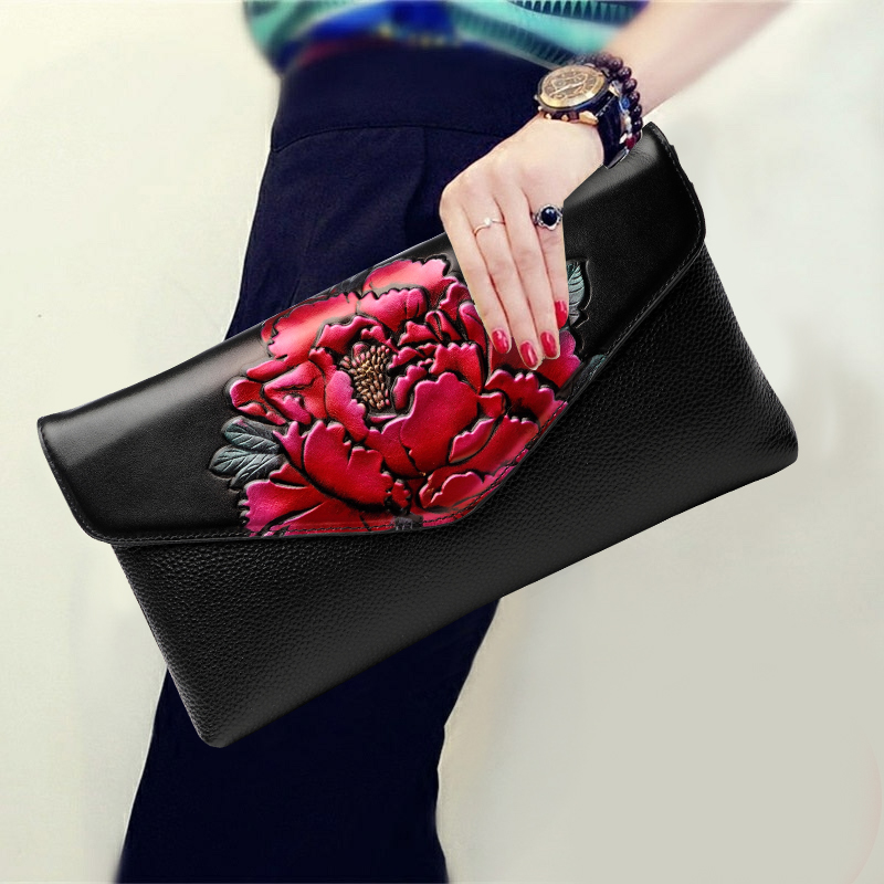 Chinese Style Peony Flower Genuine Leather Clutches Bag Soft Cowhide Top Leather Vintage Wallet Shoulder Crossbody Bag Card Pack vintage style 3colors top cowhide 100