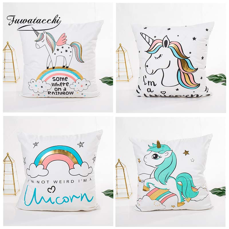 Fuwatacchi Cute Unicorn Pineapple Cushion Cover Colorful Rainbow Pillow Covers for Home Sofa Chair Decorative Pillows 45*45cm