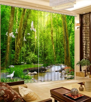 3D Curtain Fashion Customized Curtain Green Woods Creek White Dove Curtains For Bedroom Blackout Shade Window Curtains