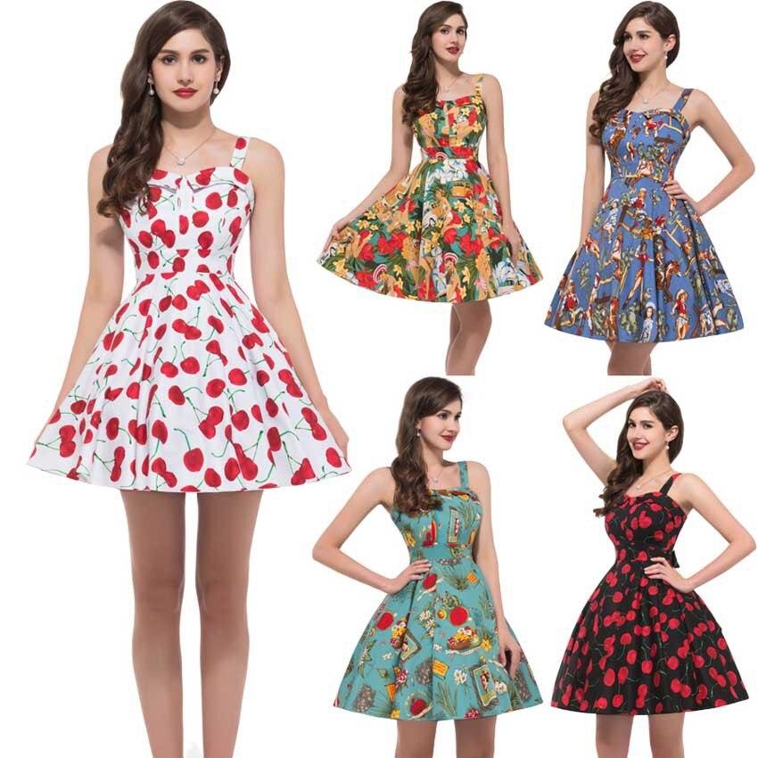 8 Patterns 2016 Retro Women Summer Cotton 50s 60s Vintage Dresses ...