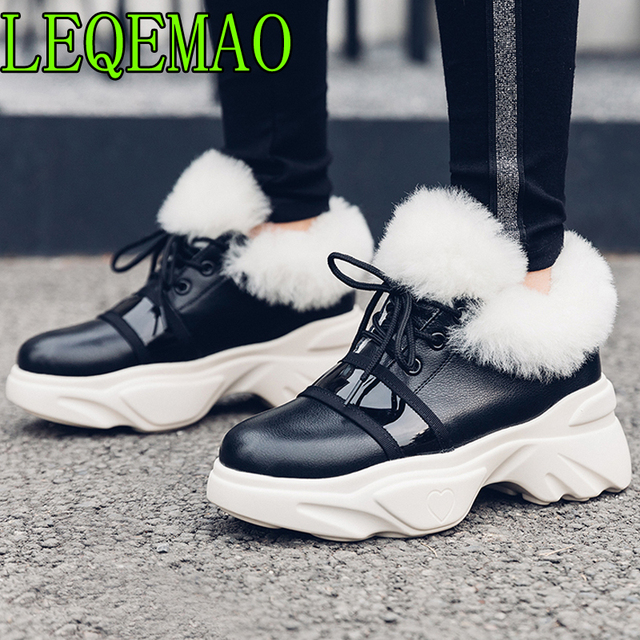 Casual Genuine Leather Ankle Women Boots Round Toe Lace Up Flat Sole Footwear Female Boot Fur Platform Shoes Woman 2018 Winter