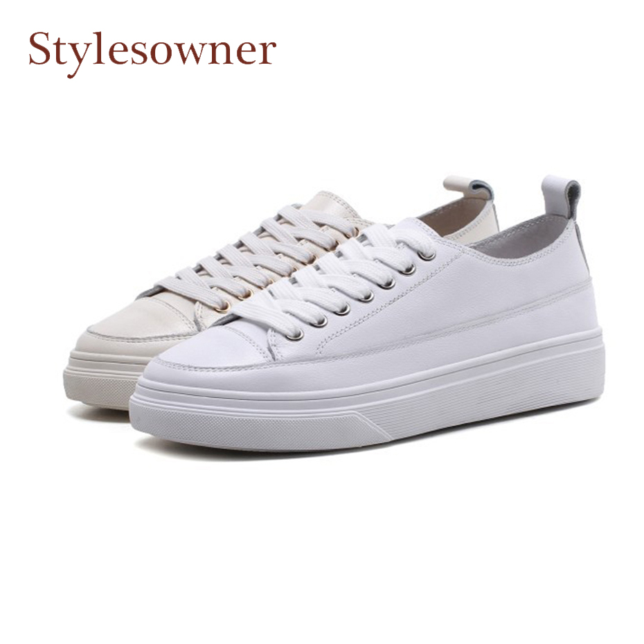 Stylesowner genuine leather women casual shoes lace up round toe thick bottom footwear spring fashion sneaker white shoes female tfsland men women genuine leather loafers students white shoes unisex spring round toe lace up breathable walking shoes sneakers