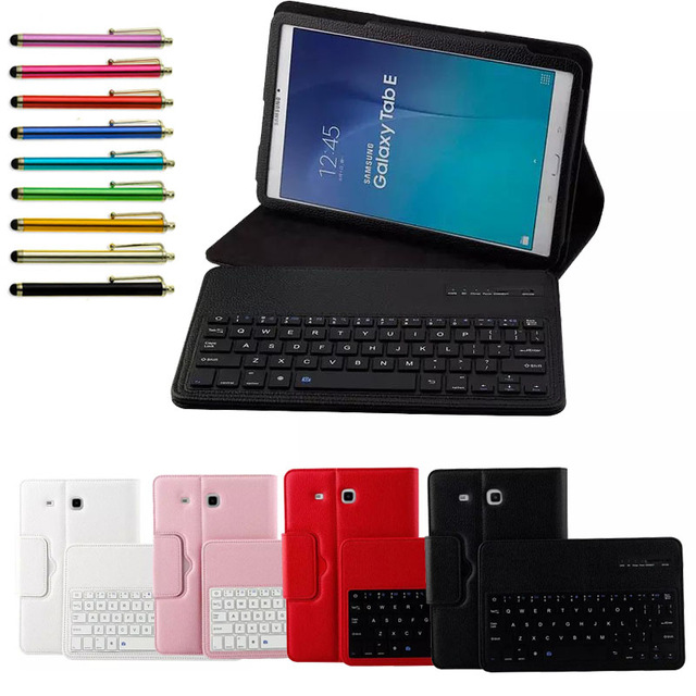 For Samsung GALAXY Tab E 9.6 T560 T561 Tablet Detachable ABS Bluetooth Keyboard Portfolio Leather Ultra Slim Stand Case Cover cuckoodo ultra slim detachable bluetooth keyboard portfolio leather case cover for samsung tab s2 9 7 inch sm t810 tablet