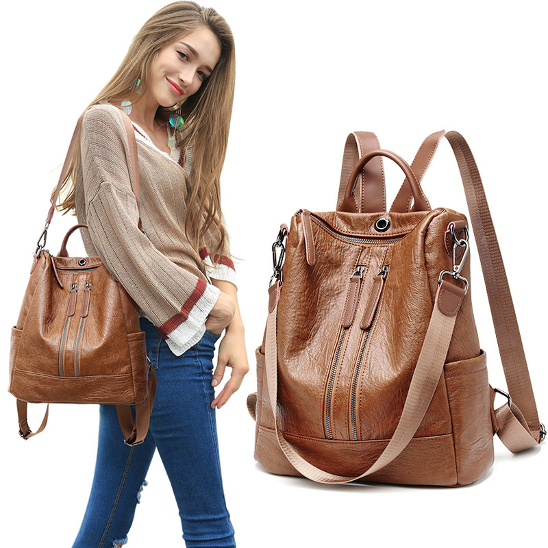 Women Leather Backpacks Rucksacks For Girls Solid Travel Luxury Designer Bagpack Ladies Sac A Dos Female Pack