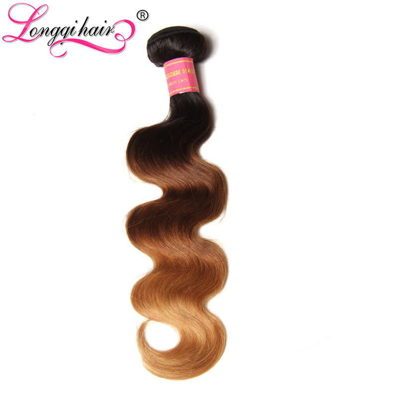 Logical Longqi Hair Ombre Hair Bundles Brazilian Body Wave T1b/4/27 3 Tone Remy Human Hair Weft 16-26 Inch 3/4 Bundle Deals Quality First Hair Weaves
