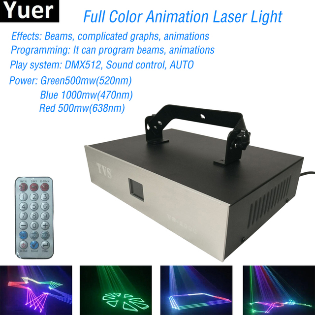 LED 2W Full Color Animation Laser Light Auto Flash RGB Led Sound Laser Lamp Activated For DJ Disco Party Soundlights Stage Light