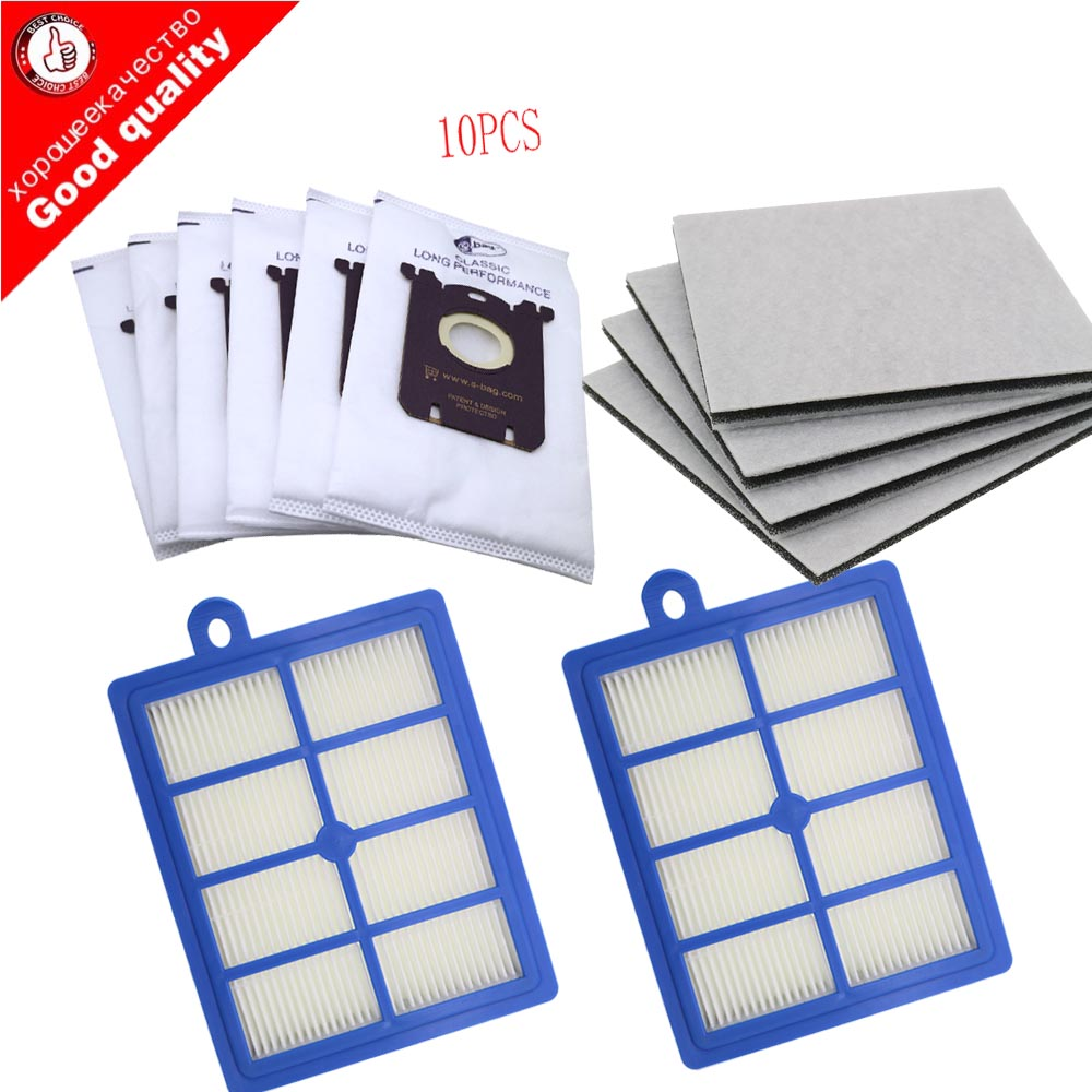 10PCS Vacuum Cleaner Dust Bags For S-bag And 2PCS H12 Hepa Filter+4PCS Motor Cotton Filter Fit For Philips Electrolux Cleaner