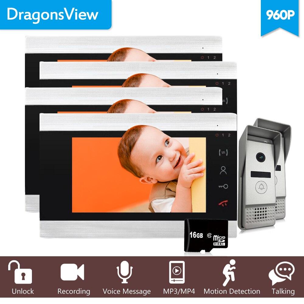 Dragonsview 960 P 7 проводной видеодомофон системы видеомонитор камера s 4 Крытый мониторы широкий формат открытый дома домофон