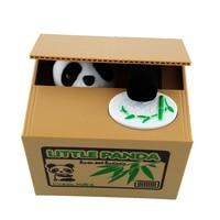 2015 Cute Itazura Automatic Stealing Coin Panda Penny Cents Piggy Bank Saving Box Kids Present Gift